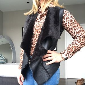 Blank NYC Faux leather and fur lined vest